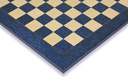 Blue Ash Burl & Erable High Gloss Deluxe Chess Board - 2.375