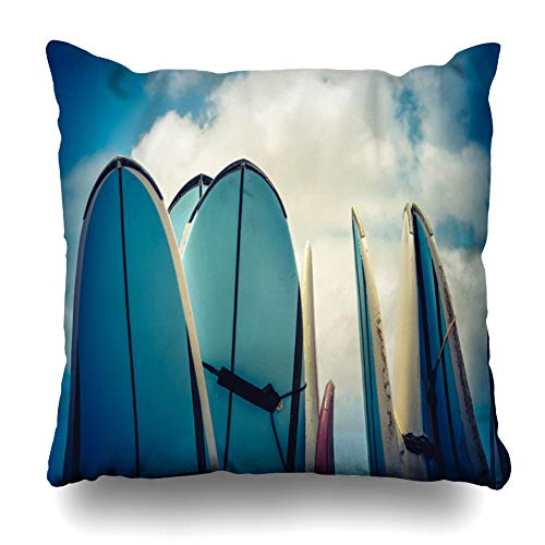 Ahawoso Throw Pillow Cover Filtered Blue Surfboard Retro Vintage Hawaiian Surf Sports Tourism Recreation Board California Surfer Home Decor Pillow Case Square Size 18x18 Inches Zippered Pillowcase