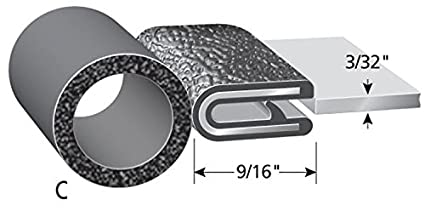 "Fits 1//64/"" Edge 25/' Length Trim-Lok Trim Seal with Top Bulb PVC Plastic Trim with EPDM Rubber Bulb Seal 0.200/"" Bulb Seal Diameter"