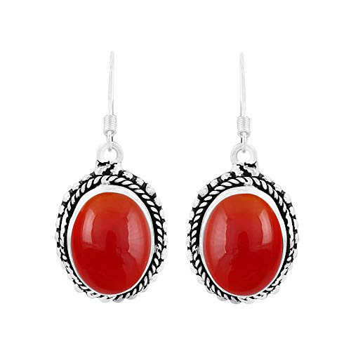 Genuine Oval Shape Carnelian Boho Style Dangle Earrings 925 Silver Overlay Handmade Jewelry For Women Girls
