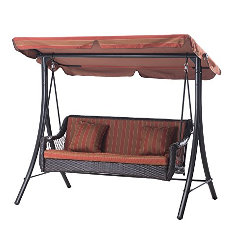 Sunjoy D-DNC492PST 3-Seat Striped Adjustable Tilt Canopy Wicker Metal Swing