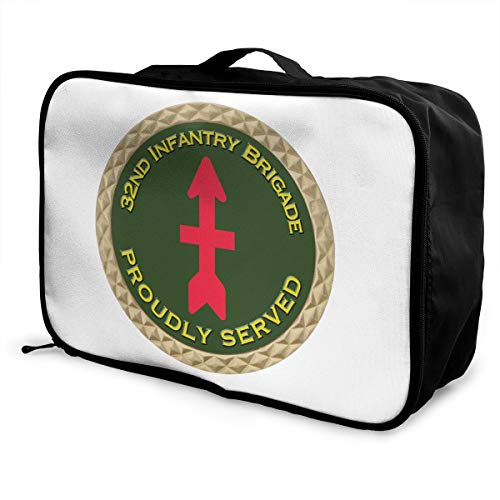 32nd Infantry Brigade SSI Lightweight Large Capacity Portable Luggage Bag Fashion Travel Duffel Bag