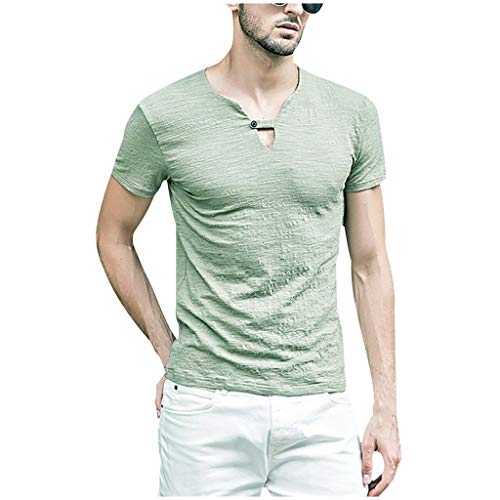 Men's Comfy Linen Shirts V-Neck Short Sleeve Slim Fit Boho Hippie T-Shirts Beach Basic Tops by URIBAKE Green