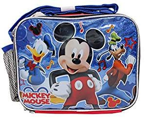 Disney Mickey Mouse Shiny Blue & Red Boys' School Lunch Bag (Mickey Mouse Head Lunch Box With Thermos)