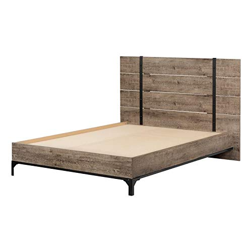 South Shore 12638 Valet Platform Bed with Headboard-Full-Weathered Oak