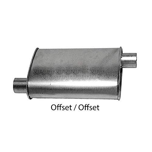 Turbo Muffler 2.50 Diameter Offset Inlet 2.50 Diameter Offset Outlet 4.00 X 9.00 Oval 18.00 OAL Aluminized WTM25018OO Wesdon Turbo Muffler