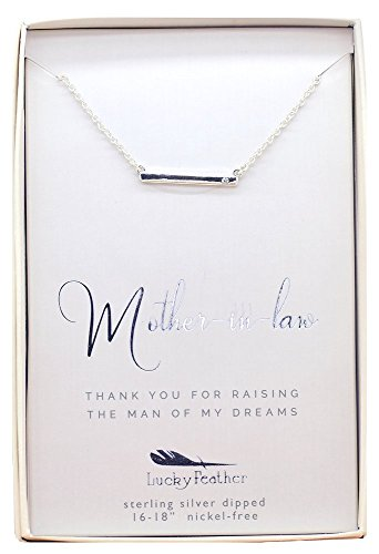 Lucky Feather Sterling Silver Dipped Mother of the Groom Necklace with Crystal Accent Stone and Adjustable Chain