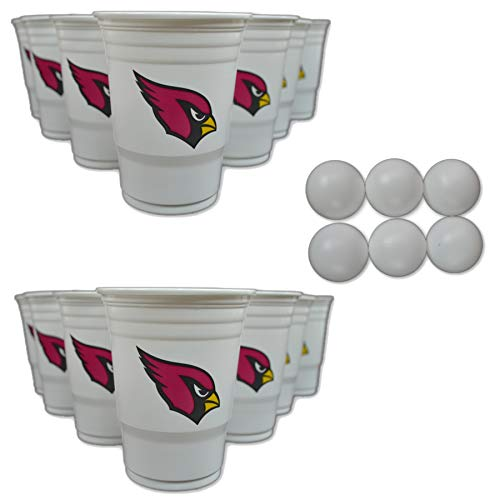 NFL Fan Shop Beer Pong Set. Rep Your Favorite Team with the Classic Game of Beer Pong at home or at the Tailgate Party - Comes with 22 Cups and 6 Ping Pong Balls (Arizona Cardinals)