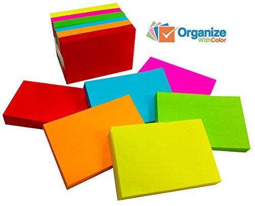 1 in.x 1-1/2 in. Sticky-Note Rainbow Pack. 6 Individual Pads of 100 each - 600 total for $<!--$6.99-->
