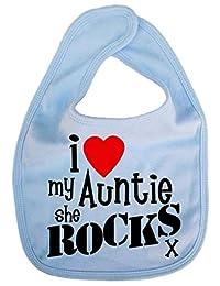 Dirty Fingers, I love my Auntie she Rocks x, Baby Cute Feeding Bib, Pale Blue
