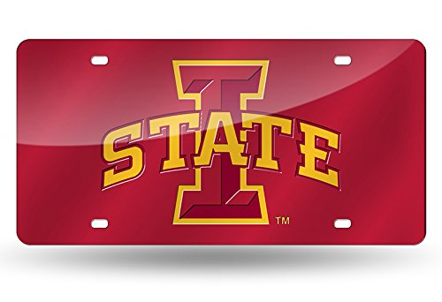 Rico Industries NCAA Iowa State Cyclones Laser Inlaid Metal License Plate Tag, Red, 6