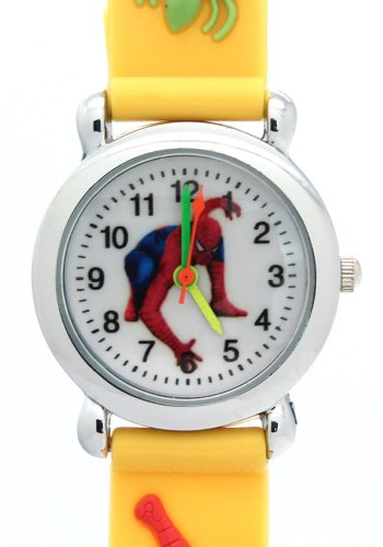 Timemall Fashion Yellow Spider Man Analogue Quartz Children Watches -