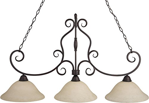 Bronze Bulb Finish 3 - Maxim 12208FIOI Manor 3-Light Pendant, Oil Rubbed Bronze Finish, Frosted Ivory Glass, MB Incandescent Incandescent Bulb , 60W Max., Dry Safety Rating, Metal Shade Material, Rated Lumens