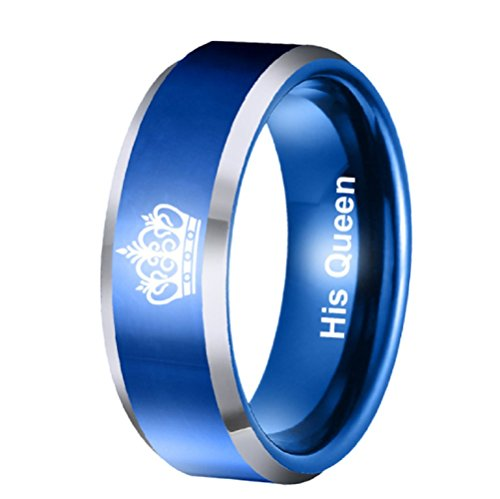 6mm His Queen Ring Blue Stainless Steel Ring Womens Engagement Wedding Band Anniversary Christmas Gifts (His Queen, Size 6)