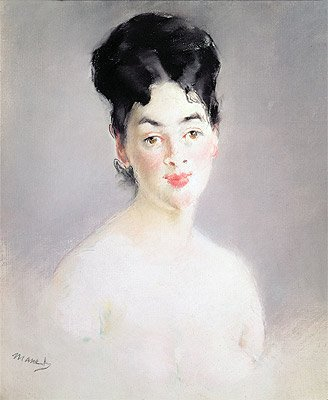 Manet (Bust of a Young Female Nude, c.1875) Canvas Art Print Reproduction (21.1x17.6 in) (54x45 cm)