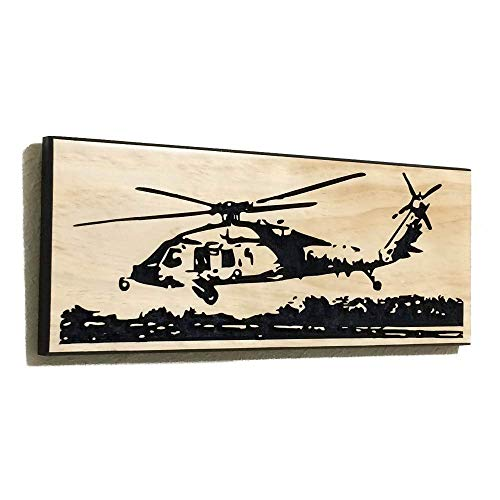 Gift For Military Boyfriend MH-60S Helicopter Wood Decor Gift For Military Helicopter Sign ()