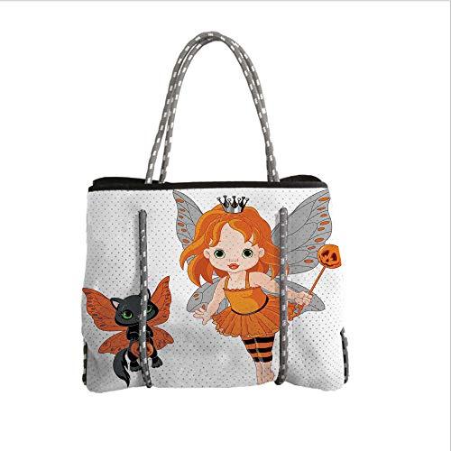 iPrint Neoprene Multipurpose Beach Bag Tote Bags,Halloween,Halloween Baby Fairy and Her Cat in Costumes Butterflies Girls Kids Room Decor Decorative,Multicolor,Women Casual Handbag Tote Bags