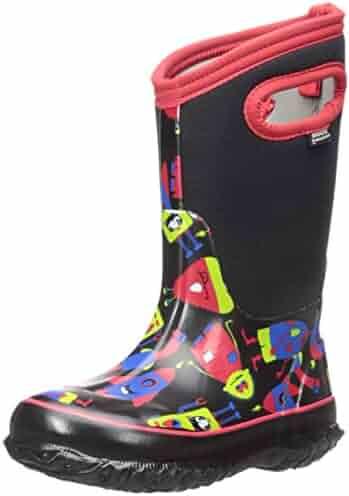 Bogs Classic High Waterproof Insulated Rubber Neoprene Rain Boot Snow, Monsters Print/Black/Red, 13 M US Little Kid
