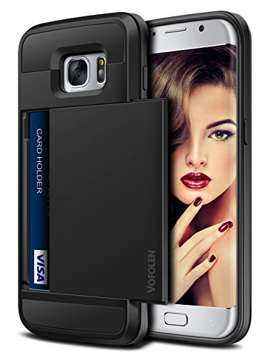 Vofolen Galaxy S7 Edge Case Wallet Card Holder Slidable Cover Hybrid Protective Hard Shell Shockproof TPU Rubber Bumper Armor Scratch-Proof Credit Card ID Slot Case for Samsung Galaxy S7 Edge (Black)