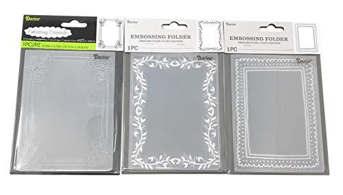 - Darice Embossing Folder Borders Frames Bundle: 1 Corner Scrolls, 1 Leaf Border, 1 Picture Frame, Each 4.25