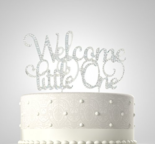 Rubies & Ribbons Welcome Little One Silver Metal with Rhinestones Welcome Baby Cake Topper Party Decoration with Gift Box
