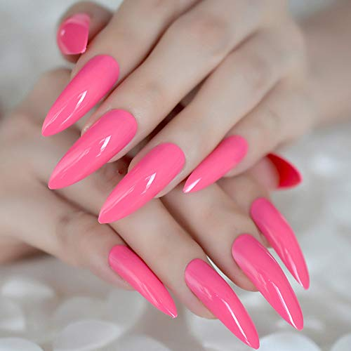 CoolNail Hot Pink Extra Long False Nails Stiletto Tips Oval Sharp End Stilettos Fake Nail Rose Red UV Gel Manicure Artificial Nails Salon