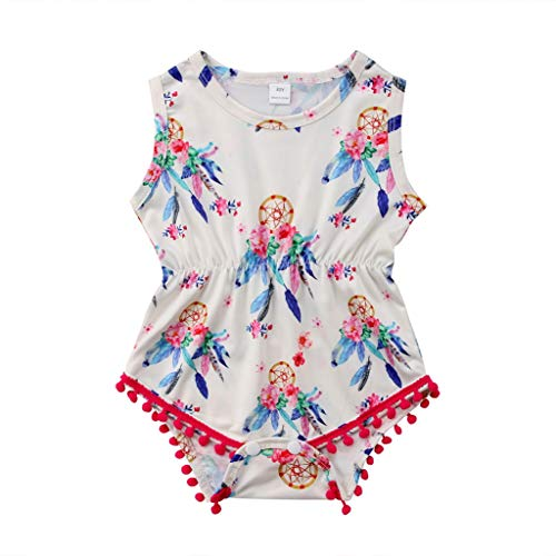 Toddler Baby Kids Girls Ruffle Sleeveless Tassel Ball Romper Clothes Infant Jumpsuit Outfits(24M,White)]()