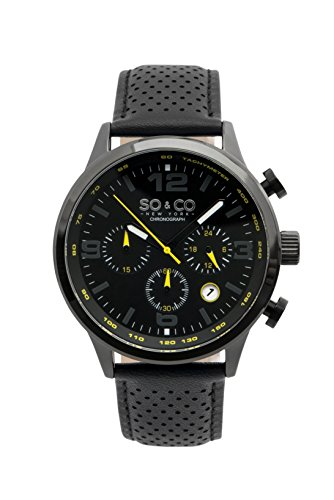 So and Co NY Men's Monticello watch - Quartz Metal and Leather Sport - stainless steel (Black (Dial Pvd Bezel)