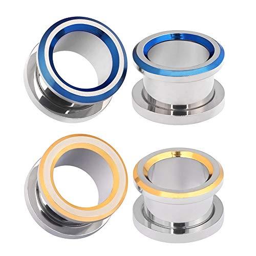 (Alphapierce 4PCS Ear Tunnels Plugs Kit Surgical Steel Screw Fit Ear Gauges Expander Body Piercing Blue and Gold Set Size 1/2