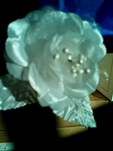 4 Trims White Wt (Bridal Satin Roses, White, 4