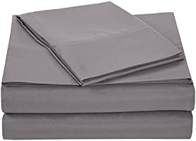 AmazonBasics Microfiber Sheet Set - Twin Extra-Long, Dark Grey