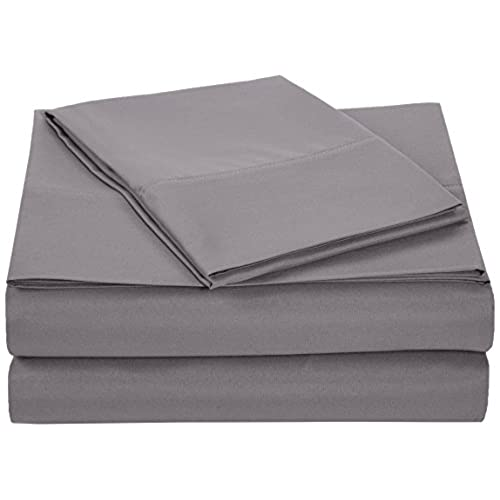 AmazonBasics Microfiber Sheet Set   Twin Extra Long, Dark Grey