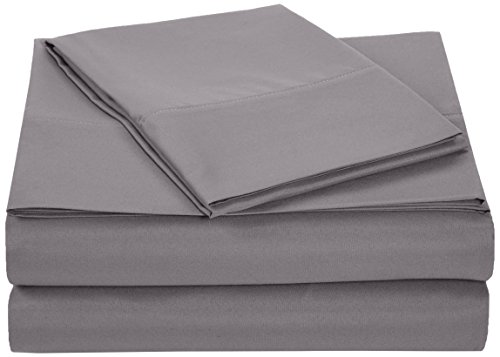 AmazonBasics Microfiber Sheet Set - Twin Extra-Long, Dark (1 Twin Flat Sheet)