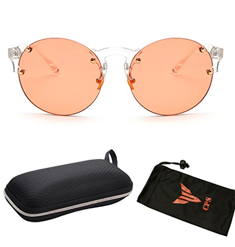 (#RDSUN-01 Pnk) Fashion Oversized Round Rimless Sunglasses Women Clear Lens Glasses with Free Hard Case and - Candy Sunglasses Hard