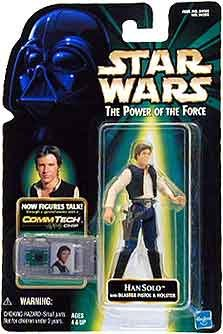 1 X HAN SOLO with BLASTER PISTOL & HOLSTER Star Wars The Power of the Force Action Figure & COMMTECH (Han Solo Pistol)