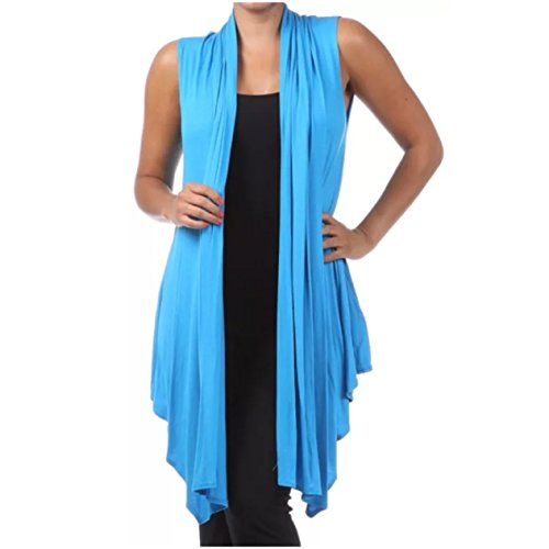 Plus Size Vest Women Open Front Asymmetrical Wrap Sleeveless Casual Cardigan (1X, Turquoise)