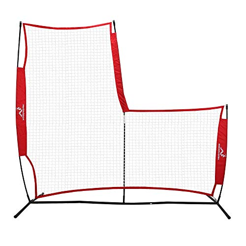 - Woodworm Portable Baseball Screen - Pop-Up Pitching Protecting L-Screen Net and Frame
