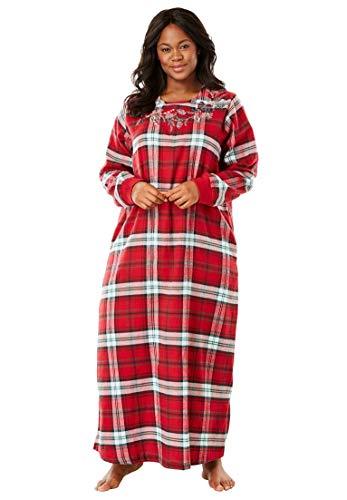 Lounger Flannel - Dreams & Co. Women's Plus Size Cotton Flannel Lounger - Classic Red Plaid, 18/20