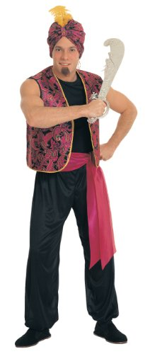 Arabian Costumes For Men (Rubie's Costume Sultan Complete Value Adult Costume, Black/Red, One Size)