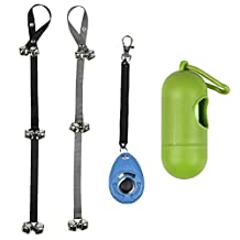Ewolee Dog Doorbells for Dog Training and Housebreaking Your Doggy - Set of 2 Doorbells with One Clicker and One Dog Waste Bag Dispenser with 15 Count Bags