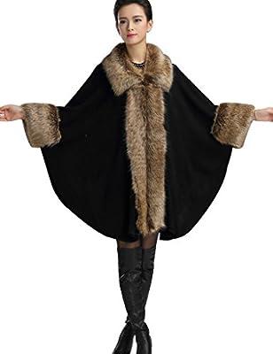 Aphratti Women's Wool Scarf Shawl Cape Coat with Luxury Faux Fox Fur Collar