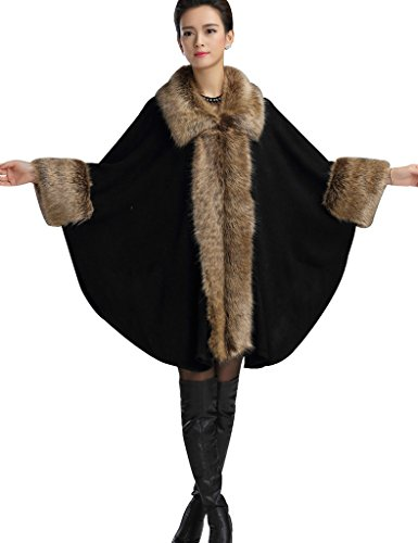 (Aphratti Women's Wool Scarf Shawl Cape Coat with Luxury Faux Fox Fur Collar One Size Black)