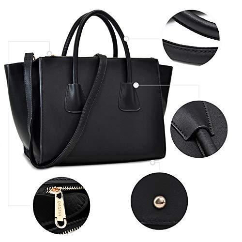 Structured Designer Handbags Winged Purses Black Dasein Bag Shoulder Satchel Tote Women nqFtWWw4Y