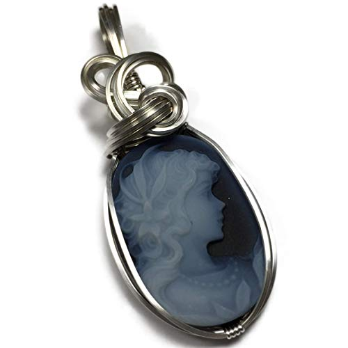 Princess Cameo Pendant Sterling Silver - Vintage look, Authentic German Carved Agate w/Black Leather Necklace Rocks2Rings Jewelry Lady S - Agate Blue Pendant Cameo