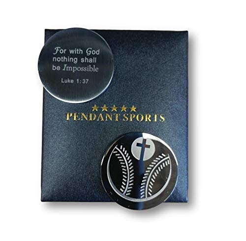 Pendant Sports Athletes Prayer Medallion Presented in Stylish Gift Box. with an Inspiring Luke 1:37 Bible Verse on Back. Available in Baseball, Basketball, Football, Hockey and -