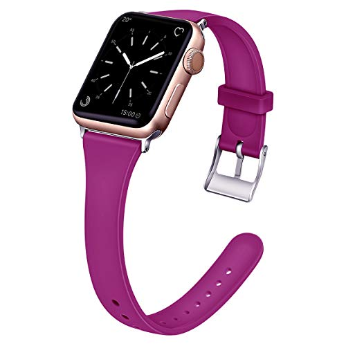(EXCHAR Slim Rubber Bands Compatible with Apple Watch Band 38mm 40mm Soft Silicone Replacement Band Women Unique Thin Wrist Strap for iWatch Series 4 3 2 1 M/L Pink Purple)