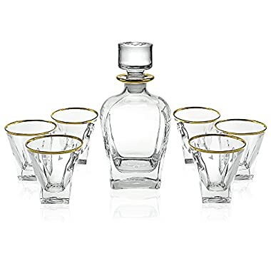 Crystal Art 7 Piece Gold Banded Liquor Whiskey Scotch and Wine Decanter Set. 1 Decanter (770ml). 6 Old Fashioned High Quality 6 Oz DOF Glasses with 24k Gold Trim.