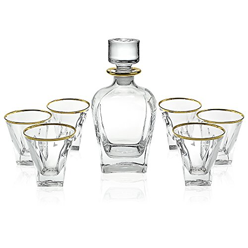 Elegant Manhattan Style Crystal Liquor Whiskey and Wine Decanter Set. Irish Cut 7 Piece Set 1 Decanter. 6 Old Fashioned 6 Oz DOF Glasses with 24k Gold Trim (Paris Style)