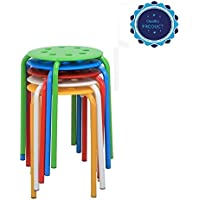 Oopamazing Commercial Furniture Round Plastic Stacking Stools White/Red/Blue/Green/Yellow Nesting Bar Stools Set,(Pack of 5)