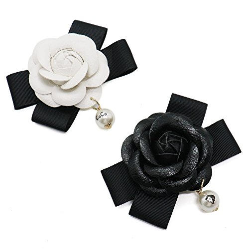 Buorsa 6 pcs Pu Leather Camellia Flower Pendant Decoration Brooch Pin Charms Cell Phone Case DIY(2 Styles)